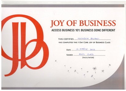 Joy of business certificate